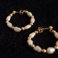 Vintage Fine Jewelry Fresh Water White Pearl Hoop Earrings 14K Yellow Gold Beads Ball Posts and Butterfly Backs Bridal Wedding Pearls