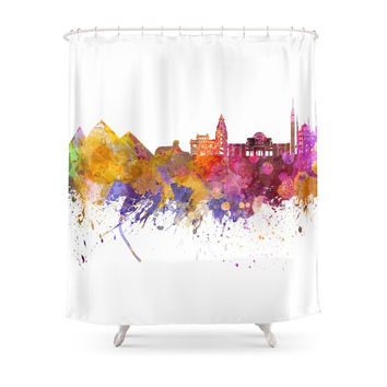 Society6 Cairo Skyline In Watercolor Background Shower Curtains