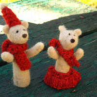 Christmas Teddy Bears, Christmas set decoration, miniature polar bear, unique gift, red scarf, white wool