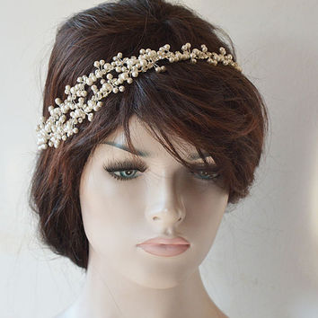 Pearl Bridal Headpiece, Pearl Headband, Wedding Hair Accessories, Wedding Headband, Bridal Hair Jewelry