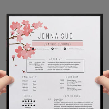 Resume template  , cover letter template , reference letter template with chic floral theme.