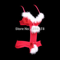 Sexy Christmas lingerie red color feathers+Bead piece women bra set A/B C/D cup halloween costumes for women