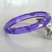 Resin Bracelet Purple With Flakes Silver, Resin jewelry, Silver Bracelet