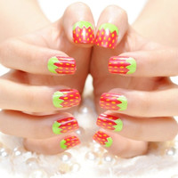 Summer day strawberry false nail set  french false nails Unique Style  fake nails acrylic Bride Full design nail tips Fashion Nail art tool hand makeup 385 (Color: Multicolor) = 1929759812
