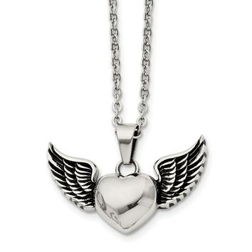 Stainless Steel Antiqued and Polished Heart with Wings Necklace 18in
