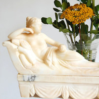 """Reclining Woman Sculpture Vintage Alabaster Neoclassical Reproduction """"Venus Victorious"""" Home Decor Boho Collectibles Art Object Gift"""