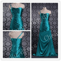 2014 Bridesmaid /Party/Evening/Prom/Formal Dress Satin One-shoulder Zipper Beads Sexy Custom Made Floor-length