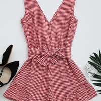 Checked Plunge Romper
