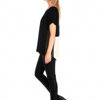 House of Harlow 1960 Iris Jersey and Crepe Colorblock Top