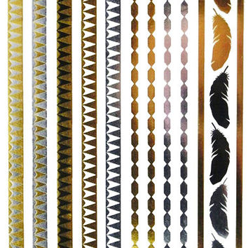 Metallic Tribal Bracelets Metallic Temporary Tattoo Gold Silver Festival Beach Holiday Gift Present Flash Tattoo Birthday Anniversary