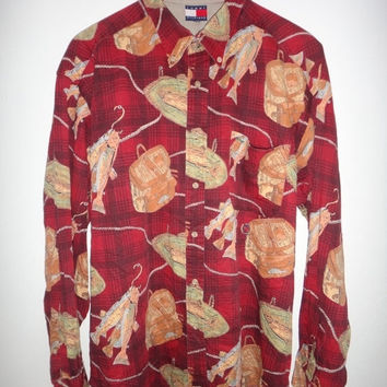 New Year Sale Tommy Hilfiger Fish Print Long Sleeve 1990s Vintage Shirt Hip Hop Swag Button Down