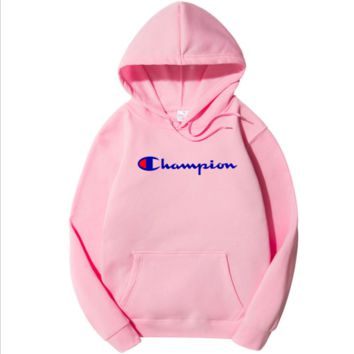 Champion Tide brand men's and women's style printed loose hooded hoodie sweater F0278-1 Pink