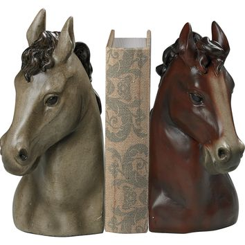Horse Head Bookends Grey Bay Finish