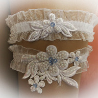 Wedding Garter Set with Pearls, Crystal Beads, Bridal Garter Set, Modern Garter, Stretch Garter, Crystal Garter, Something Blue, Prom Garter