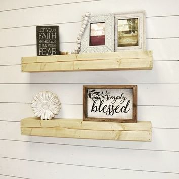 "Floating Shelf 36"" Long and Up , Long Floating Shelves, Wall Shelf, Farmhouse Decor"