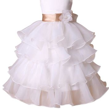 Flower Girl Dresses Cake Layers Kids Child Dress White Satin for Wedding