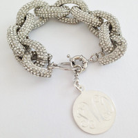 Monogram Pave Link Bracelet Personalized for Free - J Crew Style Silver Pave