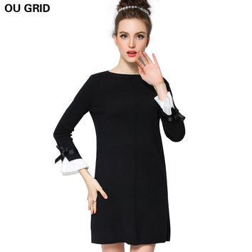 Knitted Sweater Dress  New Arrival Bow Flare Sleeve Spring Ladies Black Dress L-5XL Casual Plus Size Women Clothing Vestidos