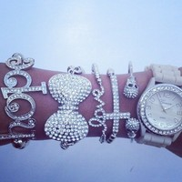 Silver Skull Watch Set