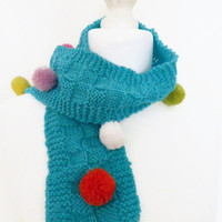 Turquoise knit scarf, acrylic hand knit scarf with multicolour pompoms for all ages, UK shop