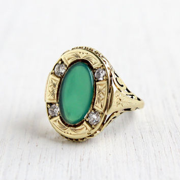 Antique Art Nouveau 14k Yellow Gold Diamond & Green Onyx Ring - Size 5 1910s 1920s Embossed Swirl Fine Jewelry / Open Metal