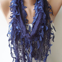 Dark Blue Laced Scarf with Trim Edge  - Speacial Laced Fabric--NEW