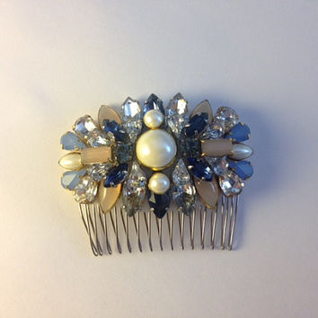 Blush Navy Sky Blue Crystal and Pearl Handmade Vintage Inspired Bridal Hair Pin Pendant Comb