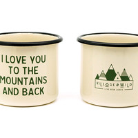 Mountain Lovin' Enamel Camp Mug - Set of Two – Village and Wild