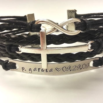 Hand Stamped Name Bracelet, Birthday Bracelet, Hand Stamped Personalized Infinity Cross Bracelet for Women and Girls - Choose Your Colors!