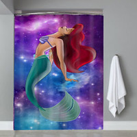 Princess Ariel Disney Little Mermaid Nebula Shower Curtain Limited Edition