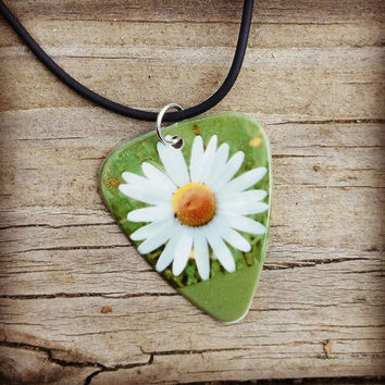 Daisy flower guitar pick on black necklace with green country grass background- Gorgeous and Unique!