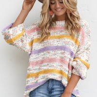 Skyline Drive Pastel Stranded Yarn Stripe Sweater