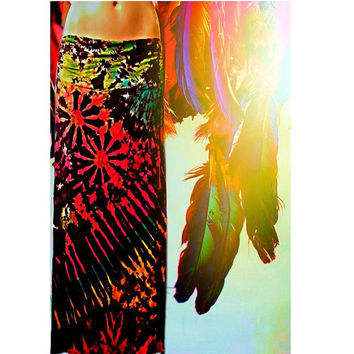 Rainbow Tribe Tie Dyed Maxi Skirt