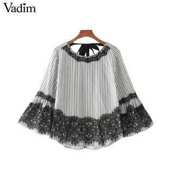 Vadim women sweet lace patchwork striped shirts back bow tie flare sleeve o neck blouse fashion casual tops blusas LT2113