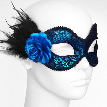 Metallic Blue And Black Lace Masquerade Mask  -  Venetian Style Mardi Gras Feather Mask With Rose