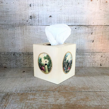 Tissue Box Cover Wood Tissue Box Holder Victorian Tissue Box Cover Handmade Kleenex Box Holder Antique Bathroom Decor Cottage Chic