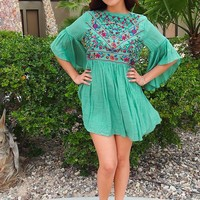 Boho Babe Floral Embroidered Kelly Green Swing Dress