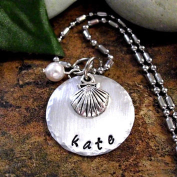 Seashell Necklace, Personalized Necklace, Pearl Necklace, Ocean Jewelry, Beach Jewelry