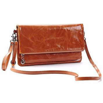 Women's Genuine Leather Clutch Handbags Purse with Strap Crossbody Messenger bag