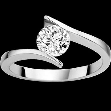Like tension set diamond solitaire ring 2.51 ct. engagment ring white gold