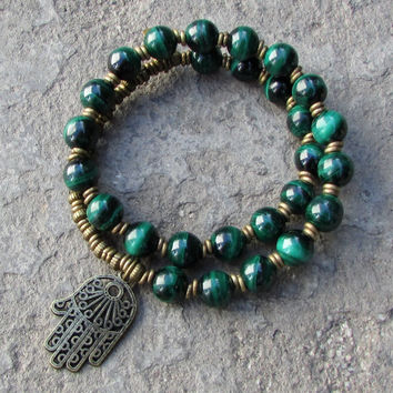 Intuition, Malachite 27 bead mala bracelet with hamsa hand™