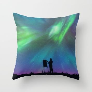 Borealis Painter Throw Pillow by Badbugs_art