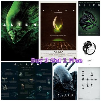 Alien movie poster super large kraft paper decorative painting retro wall sticker living room bar retro poster