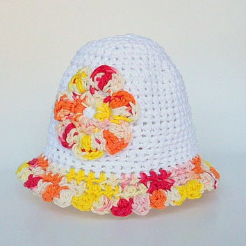 Baby Girl White Hat With Red Orange Yellow Pink Flower And Scallop  Edge 6 To 12 Old  Infant Summer Cap Children Spring Cotton  Beanie