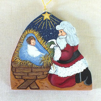 O Come Let Us Adore Him Nativity Christmas Ornament Tole Painted Wood