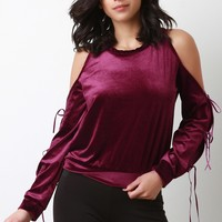 Velvet Cold Shoulder Bow Tie Sleeves Top