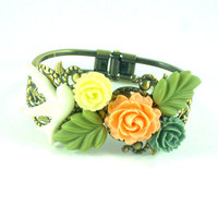 Hand painted bird with resin flower and leaves bracelet, wedding bracelet, vintage style
