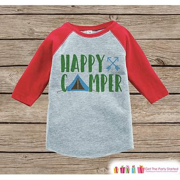 Kid's Happy Camper Outfit - Red Raglan Shirt, Onepiece - Kids Baseball Tee - Camp Tent Shirt for Baby, Toddler, Youth - Adventure Clothing