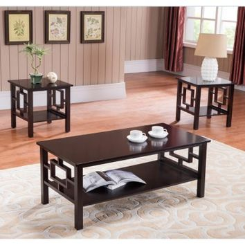 K & B Furniture T92 3 Piece Cocktail and End Table Set | www.hayneedle.com