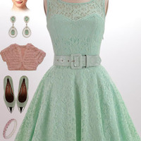 50s Style MINT Green Belted PINUP Ballerina Party Dress with Illusion Top Detail